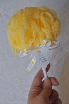 Yellow Baby Rattle Bath Puff Baby Shower Favor by KristinsWhimsy