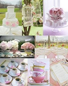 Tea party weddings and showers. Pastel florals, birdcages, and teacup accents set the perfect backdrop.