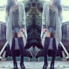 American Apparel S&P Cardi, Boyfriend Henley, American Apparel Thigh High Socks, Jeffrey Campbell Everly