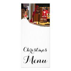 Santa In Paris Christmas Menu Rack Card