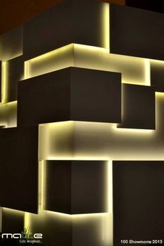 Plataforma retroiluminada Staron by Samsung. Wall Panel Design, Wall Decor Design, Wall Shelves Design, Lamp Design, Lighting Concepts, Lighting Design, House Ceiling Design, House Design, Compound Wall Design