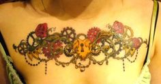 Intricate Colorful Steampunk Heart Chest Tattoo for Girls