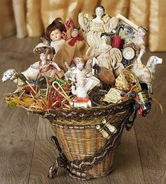 19th Century Woven Basket as Etrennes Gift, Filled with Miniature Dolls and Toys.