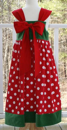 Christmas Dress, FREE SHIPPING, Disney Theme Dress, Red and Green Dress, Girls Holiday Dress Size 8