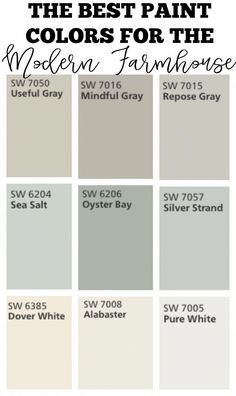 Transitioning to Farmhouse Style Shopping Guide : Transitioning to farmhouse style. The best paint colors for the modern farmhouse. Classic colors for cozy, warm look in any home. Best Paint Colors, Bedroom Paint Colors, Paint Colors For Home, Wall Colors, Paint Colours, Bathroom Colors, Modern Farmhouse Style, Farmhouse Design, Rustic Farmhouse