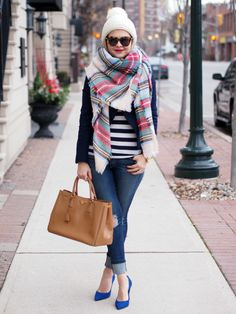 Stripes, pumps, blanket scarf, outfit