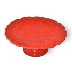 """The Great American Cake - Bordallo Pinheiro small cake stand """"Hearts"""" red - Bordallo Pinheiro Prato com Pé Corações Vermelho pequeno"""