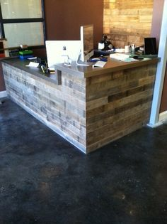 32 Awesome Reclaimed Wood Reception Desk Images Office