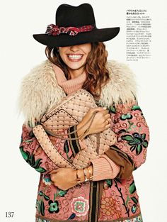 Crazy About Accessories: Lauren Auerbach by Xavi Gordo for Elle Japan, February 2017 #pink #styling #hat