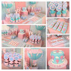 Hot Air Balloon Dessert Buffet Baby Girl Cakes, Baby Shower Cakes For Boys, Cake Baby, Baby Girl First Birthday, First Birthday Cakes, Hot Air Balloon, Balloon Cake, Fun Baby Announcement, Sweet Buffet