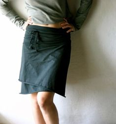Wrap Skirt - Top - scarf in black Jersey - handmade womens cotton mini skirt…