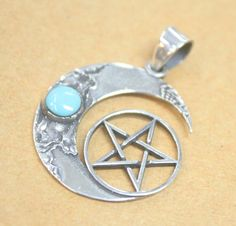 Pentagram Moon Pentacle Pendant Star Fashion Vintage TURQUOISE Genuine 925 STERLING SILVER Jewelry Mens Womens Rock Punk Hipster Hot Cameo  The