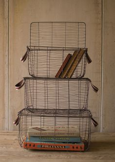 Rustic Wire Baskets with Lids-Set of Three