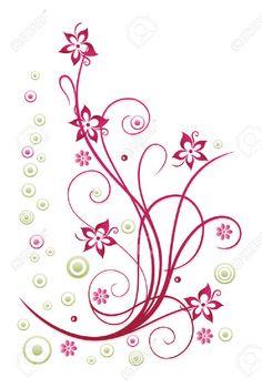 Résumé vrille en vert et rose, floral
