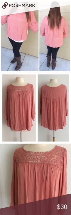 """(Plus) Light pink boho Blouse Lace blouse. 100% rayon. Very flowy! Dolman style sleeves. Lightweight and semi sheer. Slightly shorter on the sides. Model is a 2x/ 16 and wearing size 2x.  1x: L 29"""" • B 48"""" 2x: L 30"""" • B 50"""" *Please note: I ordered these from my wholesale vendor, but they are a brand from Sears/ Kmart and have tags from the store ⭐️This item is brand new with tags.  🚫NO TRADES 💲Price is firm unless bundled 💰Ask about bundle discounts Availability: 1x•2x • 3•2 Simply Emma…"""