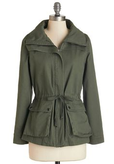 Escape into Nature Jacket in Moss - Fall, Best, Green, Mid-length, Cotton, Woven, Green, Pockets, Casual, Safari, Long Sleeve, 1, Exclusives, 2