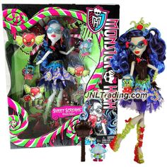 Mattel Year 2014 Monster High Sweet Screams Series 11 Inch Doll Set - GHOULIA YELPS with Purse, Candy Pet Owl, Hairbrush and Display Stand