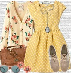 I found 'Cute Vintage Yellow Polka Dot Dress Outfit' on Wish, check it out! Add some black stockings or a cool print and a more basic cardi:. Look Retro, Look Vintage, Vintage Yellow, Dress Vintage, 50s Vintage, Vintage Ideas, Fashion Moda, Look Fashion, Womens Fashion