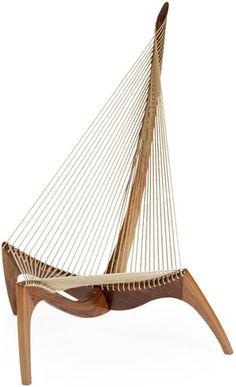 The Harp | Designed by Jorgen Høvelskov.  Teak oil treated with natural twine.   Designed in 1963