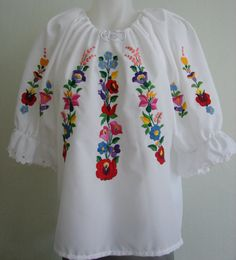 Hand embroidered Women's Blouse  Hungary  Kalocsa by Naftalin66, $59.00