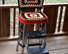 Vintage Cosco Kitchen Stool with Crocheted Granny Square Cover Black Chrome Handmade Littlestsister