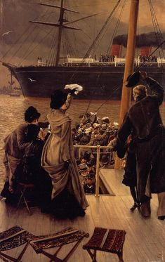 The Athenaeum - Goodby, on the Mersey (James Tissot - ) Owner/Location: 	Private collection Dates: 	circa 1882 Artist age:	Approximately 46 years old. Dimensions: 	Unknown Medium: 	Painting - oil on canvas