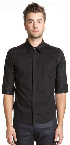 e11b3ad0e88e0 Men s uniform. black button down 3 4 sleve. with Black Very Dark
