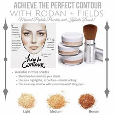 Ok SO.... I'll let you in on a little secret of mine! I always always always contour!!!! Without fail!!! If you want the BEST contouring combo out there ----> I can help!!! Oh and it's a SPRING MUST HAVE!!! Rodan  Fields contouring combo! Contouring has been a beauty secret of the stars for far too long but is now the beauty trend everyone is talking about!  With Rodan  Fields ESSENTIALS Mineral Peptide powders you can achieve a flawless complexion paired with highlights and contours! Who…