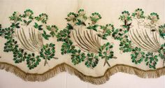 detail overskirt, the Textile Museum depot TwentseWelle, owned by Oudheidkamer Twente Hand Embroidery Designs, Embroidery Patterns, Victorian Costume, Victorian Era, Textile Museum, Tambour Embroidery, Green Gown, Belt Purse, Bow Belt