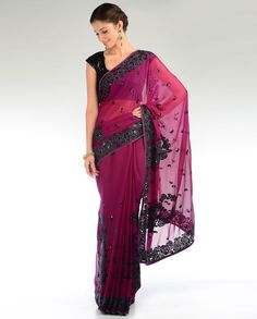 Orchid Pink Sari with Floral Embroidery
