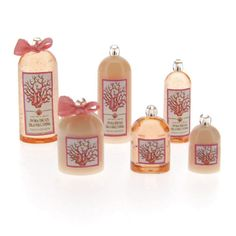 Island Living -- Easy to make fragrance bottle kit for your bathroom or shop.  The kit includes 6 bottles, 2 pre-tied bows, pretty labels and glass bead tops with a Swarovski crystal