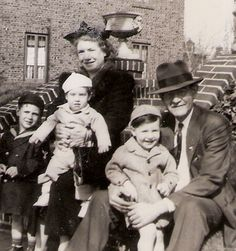 Grandparents: Anna and William Sauter, with grandchildren: Buddy, Tommy and George Van Eron, on Harden St., Brooklyn, NY. Abt 1943