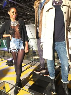 #ootd sheer bodysuit: women's secret blazer: Zara highwaist #denim shorts: bershka #casual #heyprettyface
