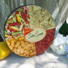 Vintage Luden's Satin Sweets Round tin candy biscuit / cookie barrel. Storage jar. Retro cylinder canister jewelry box holder trinket by WonderCabinetArts