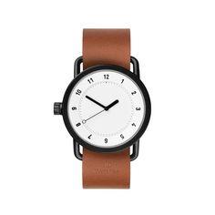 TID No.1 Blanc/Bracelet cuir Marron Tid Watches