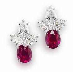 A pair of Burma ruby and diamond earrings