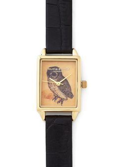 Hoot Has the Time? Watch. You do, of course - with this Olivia Burton watch around your wrist! #black #modcloth