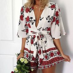 Women Floral Jumpsuit Sexy White Red Bow Waist Short Playsuit Overall Rompers #BOCSH #Jumpsuit