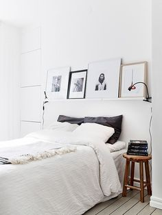 shelf above bed.