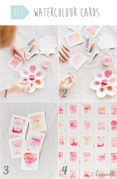 DIY: Watercolour Cards First, you need to apply paint on your card. Choose the colours of your choice, and play with it. Secondly you have to add water with your brush to create this water color effect. Let it dry.