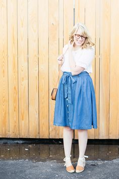buttons, bows, blouses, and blue chambray