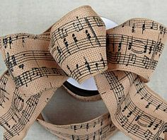 "Amazon.com: Music Note Ribbon Printed Burlap Look Wired 2.5""x24': Arts, Crafts & Sewing"