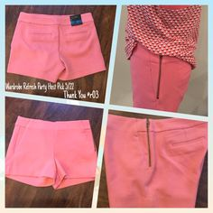 """BANANA REPUBLIC SHORTS 💕H/P💕 Adorable peach shorts with a side zipper, front pockets and faux back pocket. Perfect with top as shown in second picture. Top also available in my closet. The shorts and top are available in multiple colors.  65% Polyester, 31% Rayon/Viscose, 4% Spandex/Elastane  📐Measurements📐         Waist 30""""         Rise 9-1/2""""        Inseam 3-1/2""""        Side Seam 12"""" Banana Republic Shorts"""