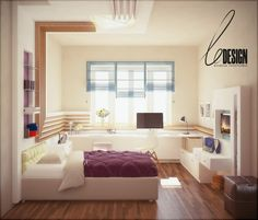 Комната девочки (14 лет), Частные интерьеры, комната, девочка, кровать, ledesign, просмотров 3701