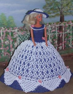 Crochet mode poupée Barbie Pattern - #415 CRINOLINE LADY #5