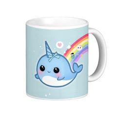 Cute kawaii narwhal with rainbow and sparkle stars classic white coffee mug