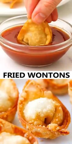 Fried wontons – Homemade, crispy and delicious wontons with simple everyday ingredients. Learn how to make wontons with this easy Chinese recipe. Easy Chinese Recipes, Indian Food Recipes, Asian Recipes, Wonton Recipes, Appetizer Recipes, Wan Tan, Amazing Food Videos, Asian Cooking, Diy Food
