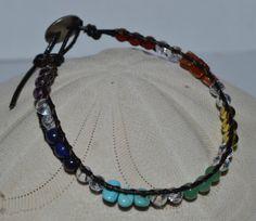 Leather Chakra Balancing Bracelet Chin Luu style by CrystalMeB