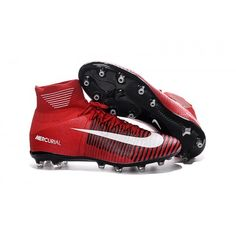 pretty nice 54669 03a98 2017 Nike Mercurial Superfly Flywire High Top Mens Soccer Cleats Red White  Black Mens Soccer Cleats