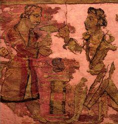 Kuzey Moğolistan. Bir Hun İmparatoruna ait, ( Xiongnu) Noin Ula Kurganında bulunan Textil parçaları.. M.Ö. 1. binyıl..